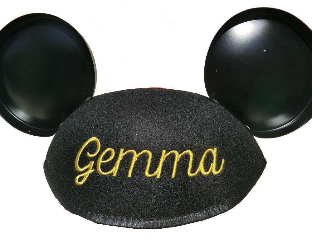 cheap for discount 570f0 bb6d1 Personalized Walt Disney World Adult Black Mickey Mouse Ear Hat