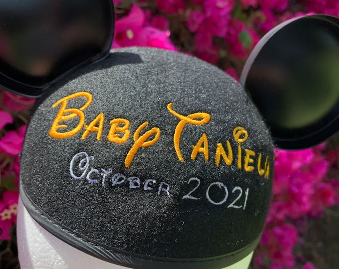 Walt Script Personalized Black Mouse Ear Hat for Baby Announcement, Baby Shower, New Baby, Gender Reveal
