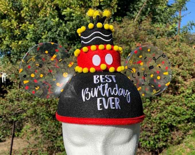 Personalized Best Birthday Ever Mickey Mouse Ear Hat