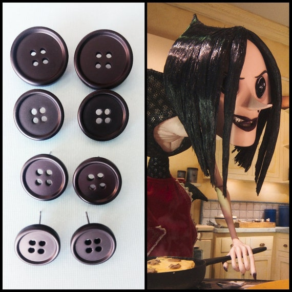 Coraline Inspired Button Earrings The Other Mother Beldam Etsy