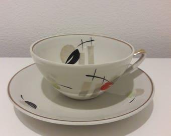 """Vintage Porcelain Tea cup and Saucer from Teaset """"Sakta"""", Soviet, USSR, Riga Porcelain Factory, RPF , 1960's"""