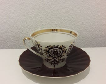 """Vintage Tea set from teaset """"Vita"""", Cup and Saucer with brown ornaments and gold details, RPF, RPR, Soviet, USSR, 1980's"""