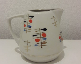 """Hand painted Vintage Creamer from Teaset """"Ausma"""", Riga Porcelain, RFZ, Made in 1960's"""