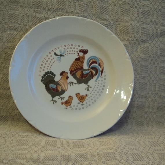 Soviétique Vintage assiette, assiette d'enfants, Pâques, plaque avec coq, poule, poussins, Lettonie, manufacture de porcelaine de Riga RPR, URSS