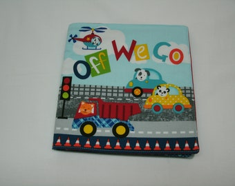 Off We Go Soft Fabric Baby Book/Soft Book/Baby Book/Cloth Book/Colorful Book/Baby Travel/Baby Girl/Baby Boy/Trucks/Planes/Cars