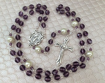 Tanzanite Czech Fire Polished Five Decade Catholic Rosary