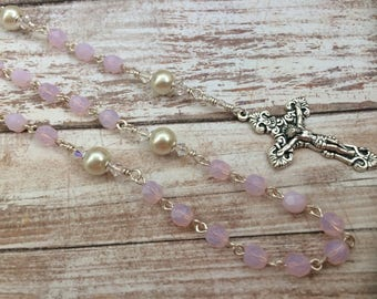 Opal Pink Czech Traditional Catholic Rosary with Miraculous Medal