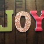 JOY Wooden Freestanding Letters Christmas Decor 6in tall