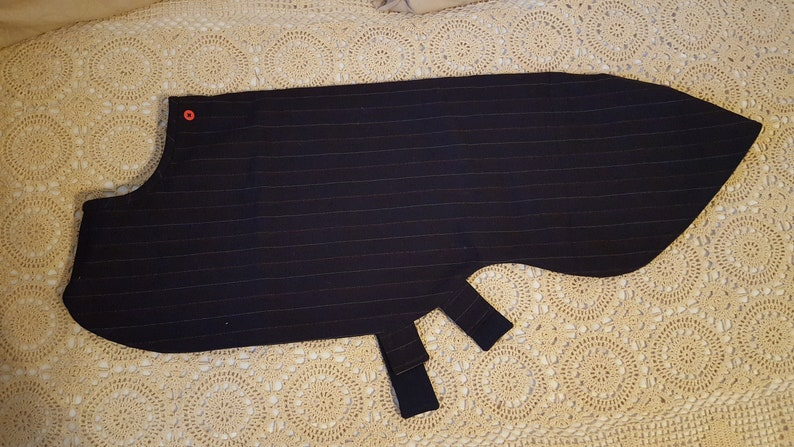 Wool pin striped fabric Coat for Greyhound with snood wool lining Medium