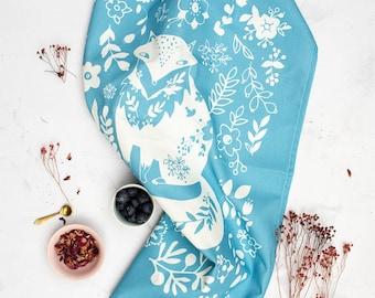 Swedish Farmhouse Kitchen Towel, Scandinavian Fox Tea Towel, Nordic Kitchen Decor, Farmhouse Kitchen Dish Cloth,  Blue Fox Tea Towel