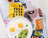 Scandinavian Shapes Tea Towel - Scandinavian art kitchen towel - Kitchen textiles- Folk patterns - Kitchen gift - Nordic art