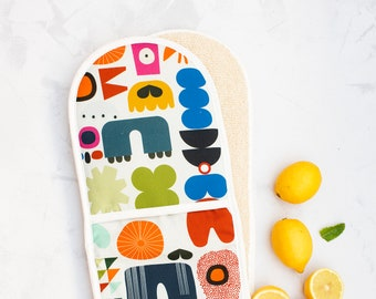 Oven Mitt, Oven Gloves, Double Oven Gloves, Kitchen Cooking Gift, Housewarming Gift