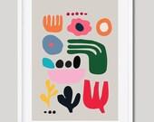 Scandinavian Print, Nordic Wall Art, Floral Print. Easter Gift, Scandi Wall Art, Botanical Print, Folk Wall Art, Giclée Print
