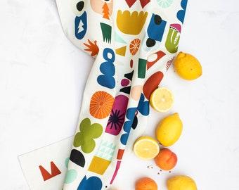 Cute Kitchen Tea Towel, Farmhouse Kitchen Towel, Housewarming Hostess Gift, Scandinavian Tea Towel Dish Cloth