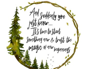 inspirational quote, forest art, watercolor art print, magic quote, feel good quote
