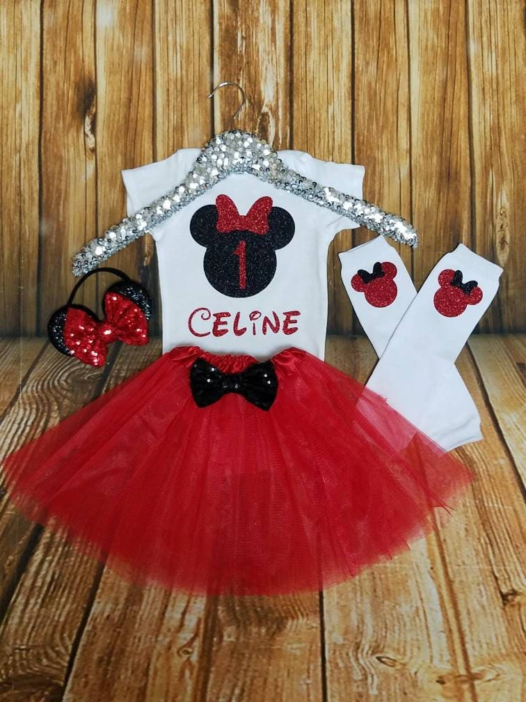 e8612bdb1 Minnie Mouse First Birthday Outfit Red and Black Minnie | Etsy