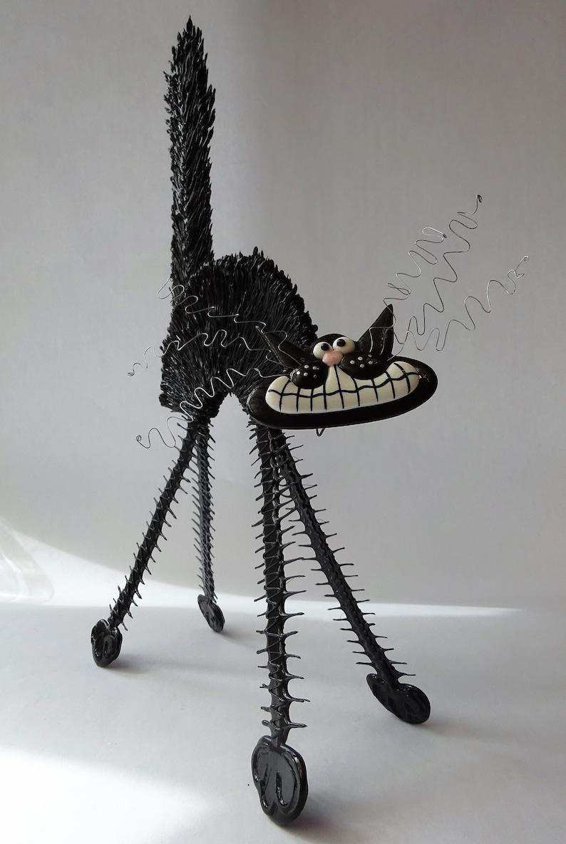 Fun Artwork Art Object Ornament Wire Art Cat Figurine Black Scaredy-Cat Cool Gift For Cat Lover Cat Sculpture Unusual Handmade Cat