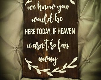 We know you'd be here today if heaven wasn't so far away. Wedding memorial sign. Tribute piece.