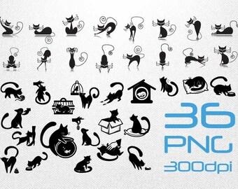 Black Cat Clipart // Black Cat Silhouette // Black Cat Icon // Pet Clipart // Clipart in PNG 300dpi Transparent