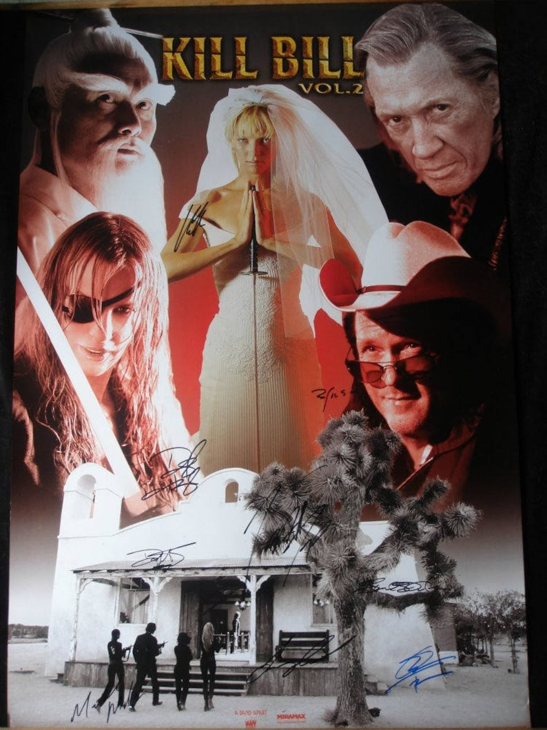 KILL BILL 2 CAST Signed Poster X9 - Quentin Tarantino, David Carradine 24