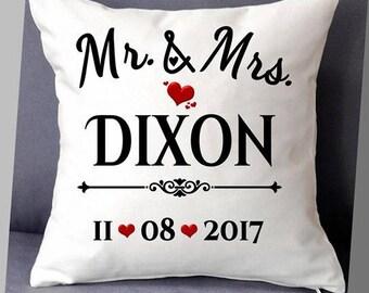 Mr & Mrs cushion, wedding date, cushion cover, wedding gift, anniversary gift, Mrs  Mrs, Mr Mr,