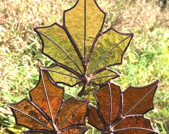Stained Glass Fall Leaves