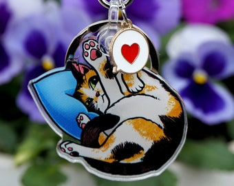 Pixel Keychain // a portable high-five from your favorite calico cat