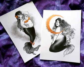 Copper Moonlight // Copper Leaf Mermaid Prints