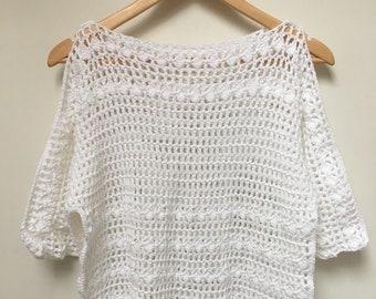 White Summer Top, Handmade Crochet, crochet lacy top, lightweight top, handmade beach wear, crochet summer top, lacy summer top