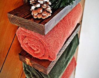 Rustic Bathroom Shelf, Four Tier Bathroom Shelf, Towel Shelf, Towel Rack, Wooden Towel Shelf, Rustic Bathroom, Rustic Home