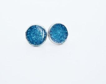 Earrings shiny Glitter resin Blue 12 mm