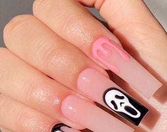 I know what you did last summer- Press on nails-Halloween nails-glue on fake nails-scream nails