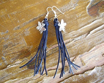 Leather earrings Butterfly earrings Boho Blue earrings Navy blue earrings Long Statement earrings Dangle earrings Beach Charm earrings
