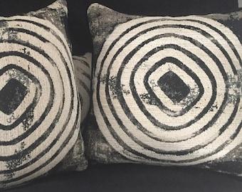 "16"" x 16"" Black and White Pillow - Cosmic Swirl Black and White Handmade Pillow. Black and White Decorative Pillow"