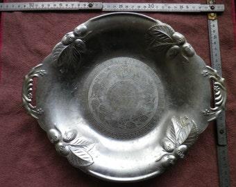 Vintage fruit Bowl / ussr / soviet fruit aluminium bowl / platter