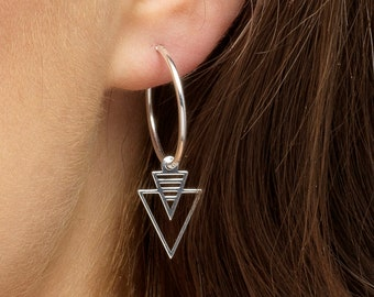Contemporary Earrings Silver Sun Jewellery Celestial Silver Earring Silver Sunbeam Earrings Silver Sunburst Earrings Aztec Hoop Earring