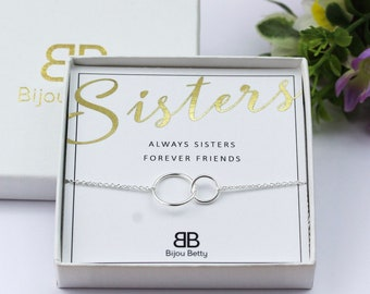 Sisters Bracelet Sister Gift For Birthday Big 2 Interlocking Circles Ideas