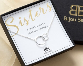 Sisters Necklace Sister Gift For Birthday Big 2 Interlocking Circles Ideas