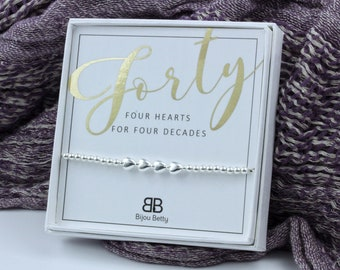 40th Birthday Silver Bracelet