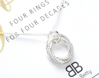40th Birthday Silver Necklace Gift For Her Daughter Friend Jewellery 40