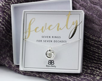 70th Necklace Birthday Gift Silver For Women 7 Rings 7th Anniversary Seven