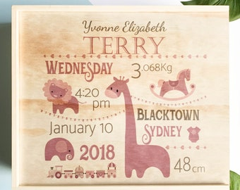 Birth Announcement  - Extra Large Keepsake Box, Wooden Memory Box
