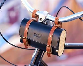 Bicycle leather bag, wooden bag, bike handlebar bag, tool bag, saddle bag, bicycle bag, bike bag, leather bag, bag for bike, cycling bag