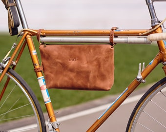 Bicycle frame bag, bicycle leather bag, tool bag, ipad bag, messenger bag, bicycle bag, bike bag, leather bag, bag for bike, hand bag
