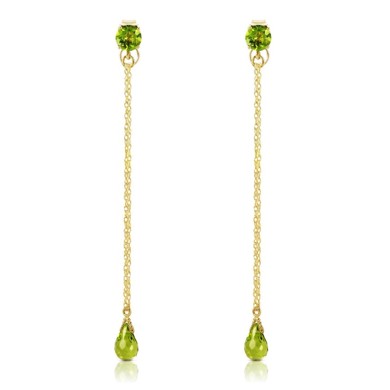 14k Solid Gold Chandelier Earring w 3.15 ctw Natural Non Treated Peridot Green Gemstone August  Birthstone Bridesmaids Birthday Valentines