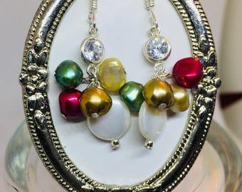 Swarovski and freshwater pearl earrings / Pendientes de Perlas de agua dulce y Swarovski