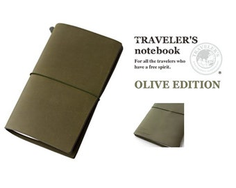 Midori 2017 Olive Edition Travelers Notebook by Travelers Company, Japan - Made in Thailand