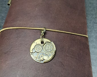 Brass Gear Design Charm for Midori Travelers Notebook or Necklace Pendant