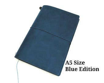 A5 Size Blue Asian Vintage Travelers Notebook Genuine Leather Refillable Diary