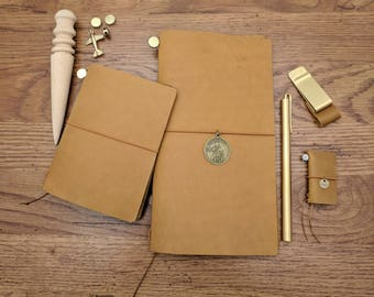 Camel Asian Vintage Travelers Notebook Genuine Leather Refillable Diary Standard and Passport Size